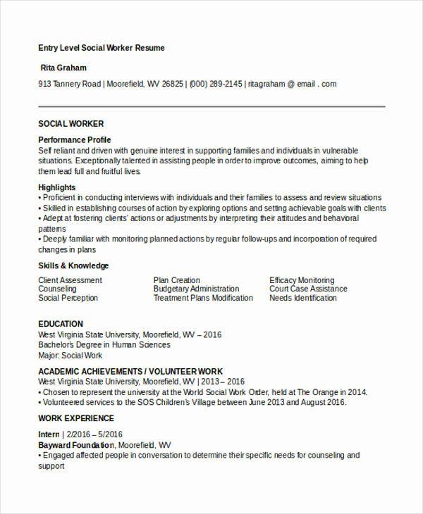 25 entry level social work resume in 2020