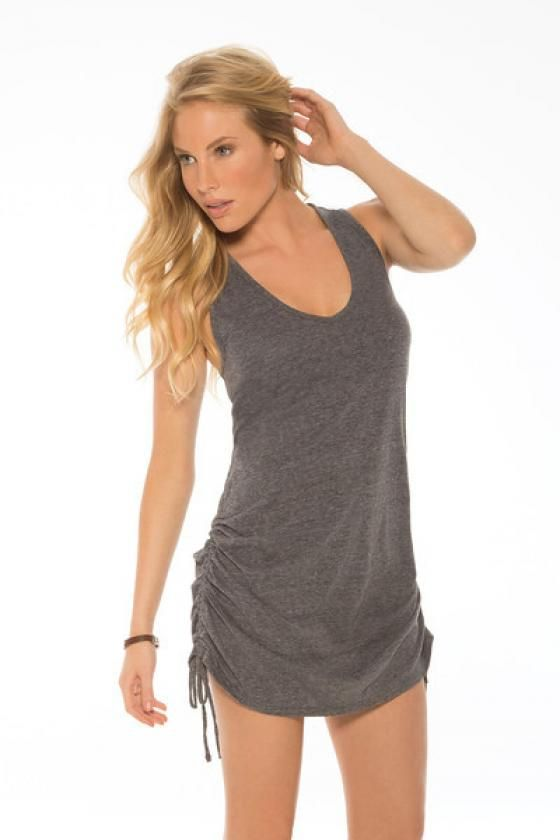 68573317a9 Eco Swim Shirred Side Dress Cover Up. Charcoal tank top dress that ties on  both…