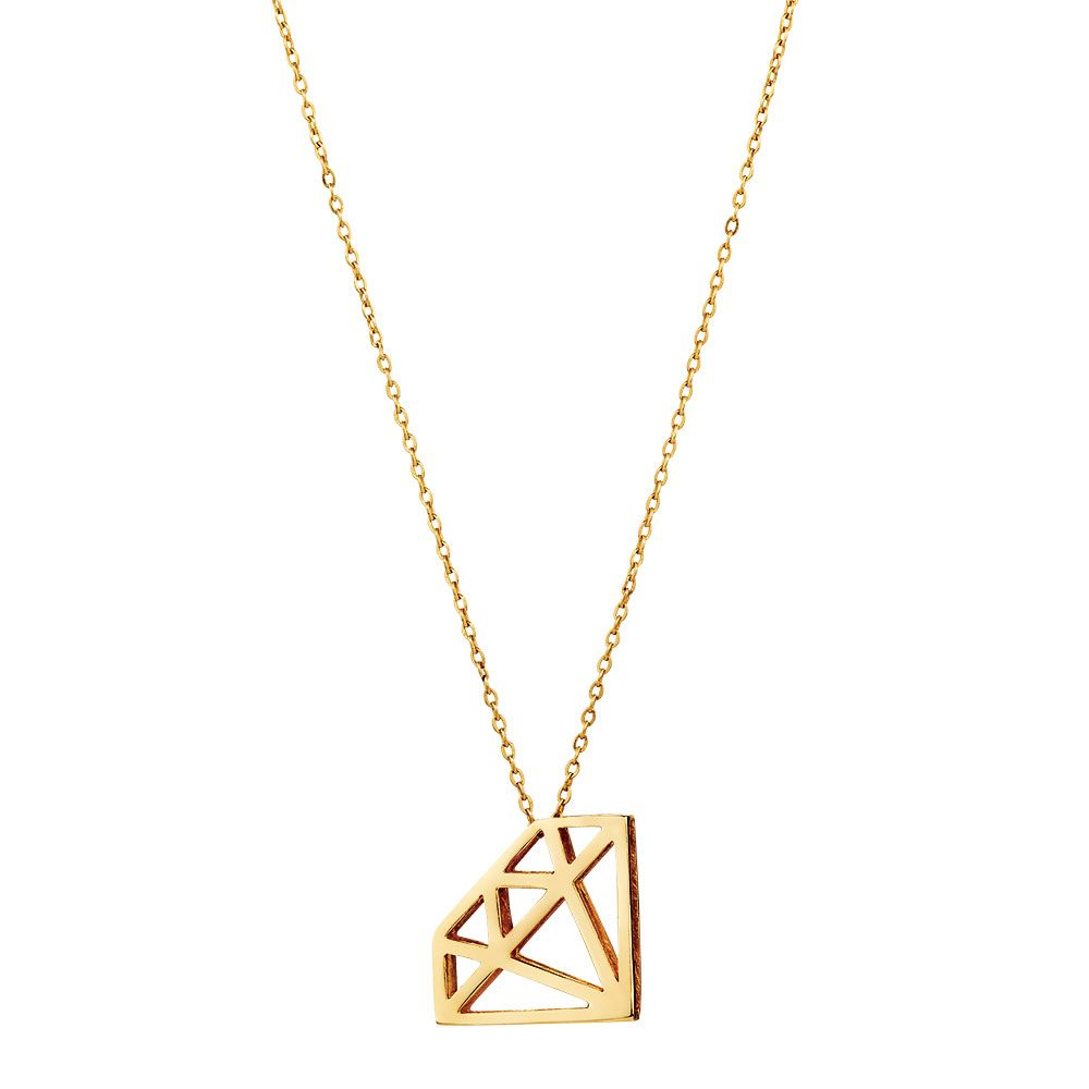 A modern design thats bang on trend this delicate 10kt yellow gold a modern design thats bang on trend this delicate 10kt yellow gold pendant is crafted in the shape of a diamond comes with 10kt gold chain aloadofball Images