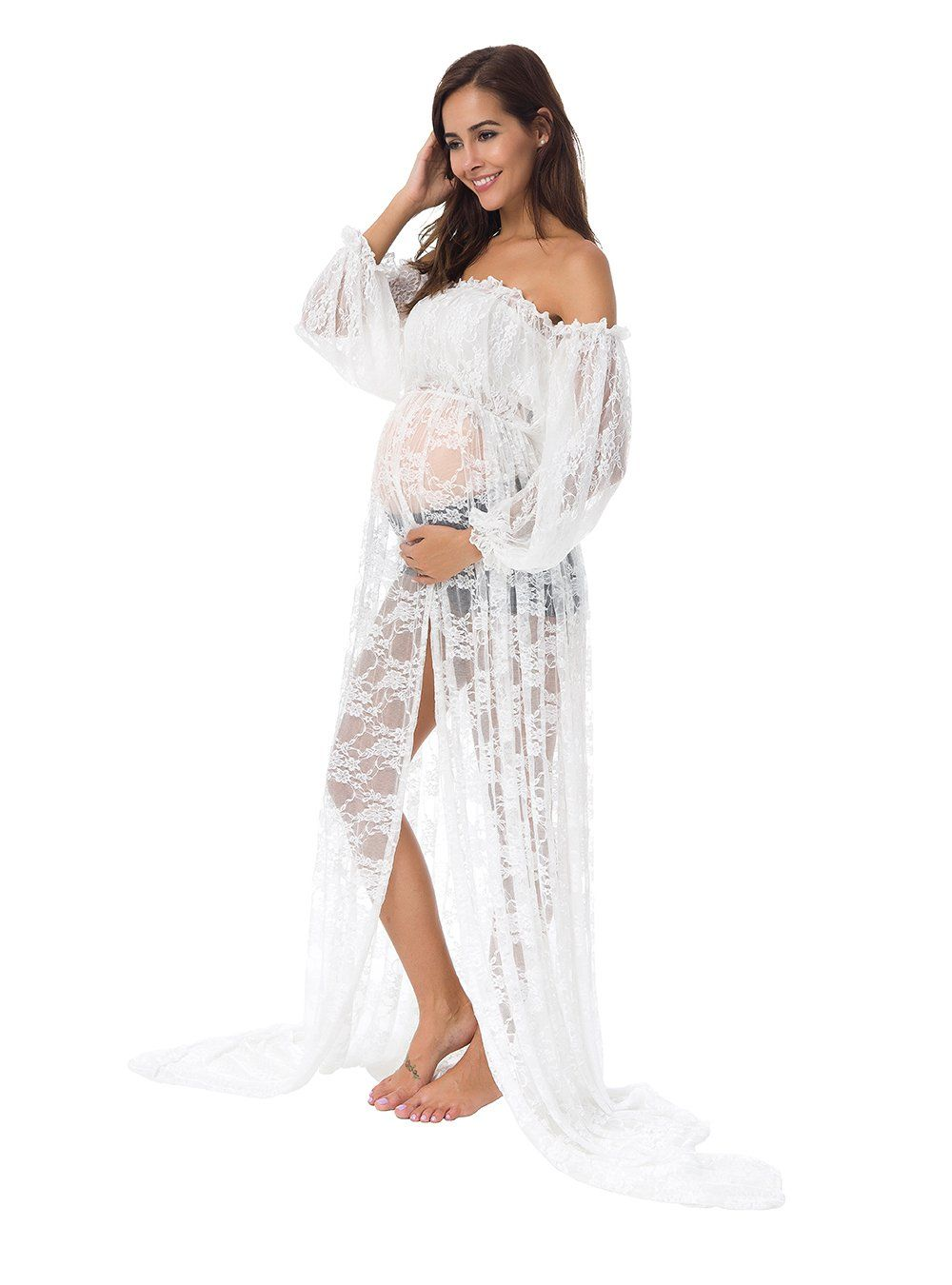 250f97d30c8c6 Maternity Fashion - skin-tight maternity dresses : JustVH Womens Off  Shoulder Long Sleeve Split Front Lace Maternity Gown Maxi Photography Dress  ** Click ...