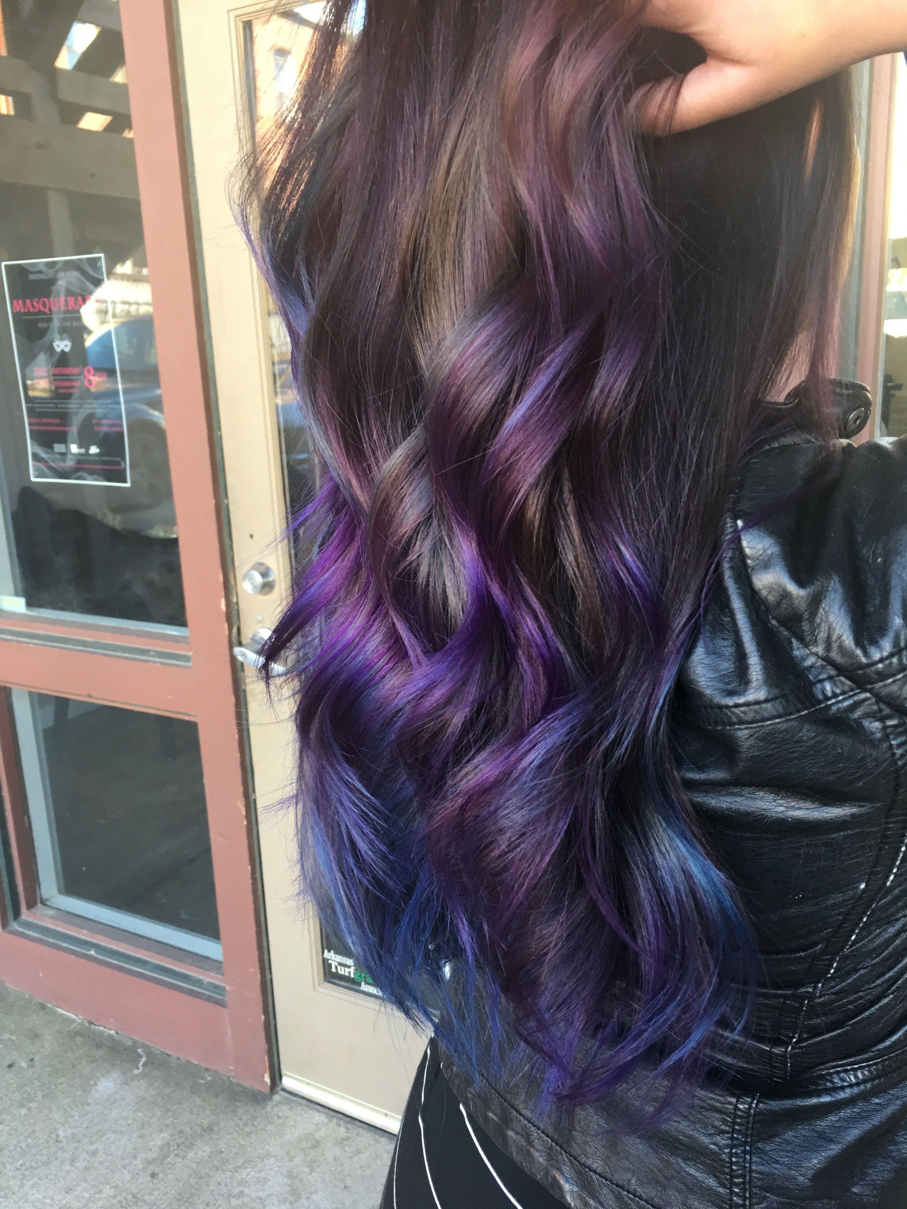 Purple And Blue Balayage Mermaid Hair Purple Hair Tips Colored Hair Tips Hair Color Auburn