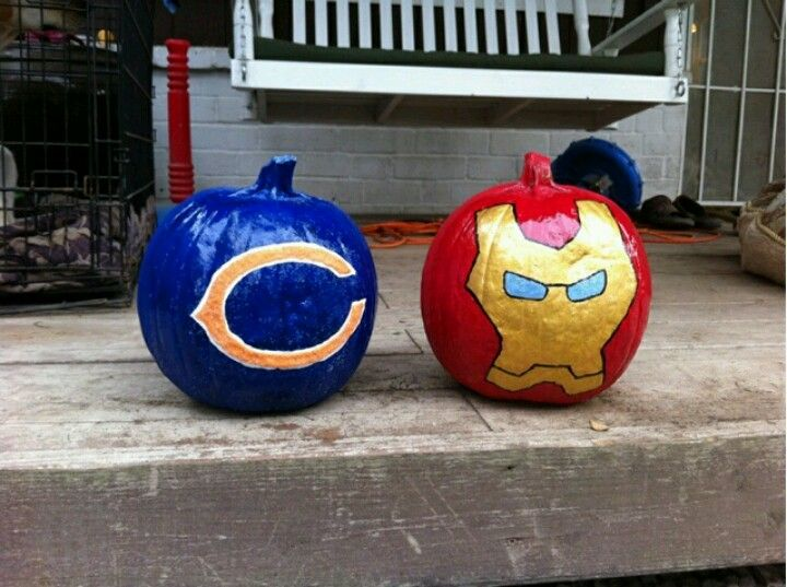 Our two favorites chicago bears iron man pumpkins our two favorites chicago bears iron man pumpkins voltagebd Images