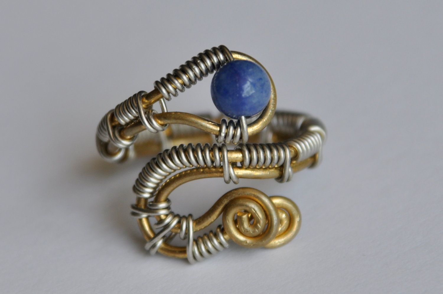 Wrapped wire ring, blue stone bead, nickel silver & brass wire ...