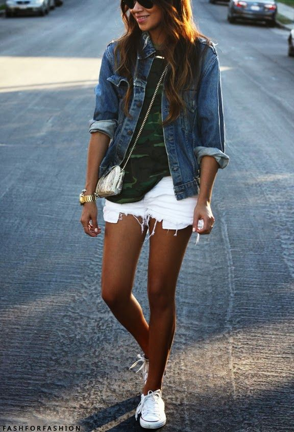 White Converse sneakers for spring   Fashion, Style, Short