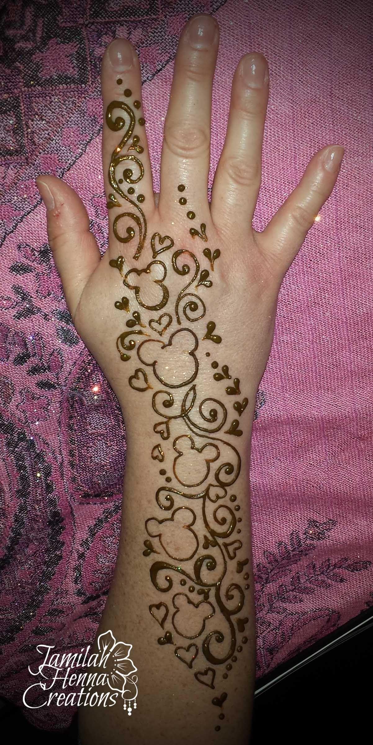 Mickey Mouse Disney Henna Www Jamilahhennacreations Com Disney Henna Henna Designs Hand Henna Tattoo Designs