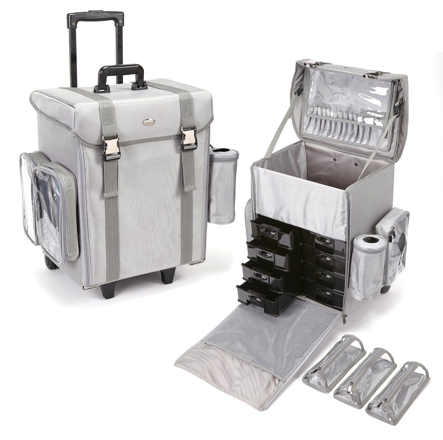 Attractive Seya Soft Sided Nylon Modular Professional Rolling Makeup Case W/ Removable  Makeup Bags (Silver/Grey) Modular Case Includes A Multitude Of  Organizational