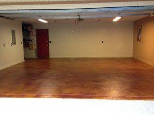 Stained concrete garage floor garage floor ideas for How to clean stained concrete garage floors