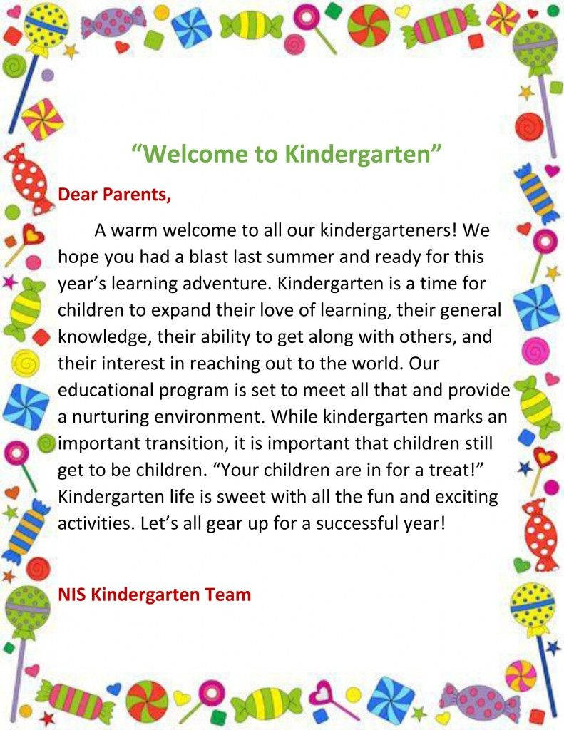 Image result for kindergarten welcome letter | Back to School