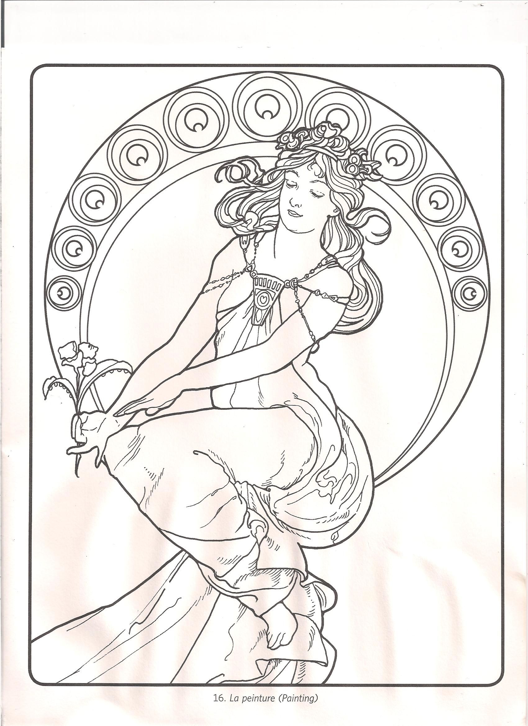 alphonse mucha coloring pages bing images staying inside the