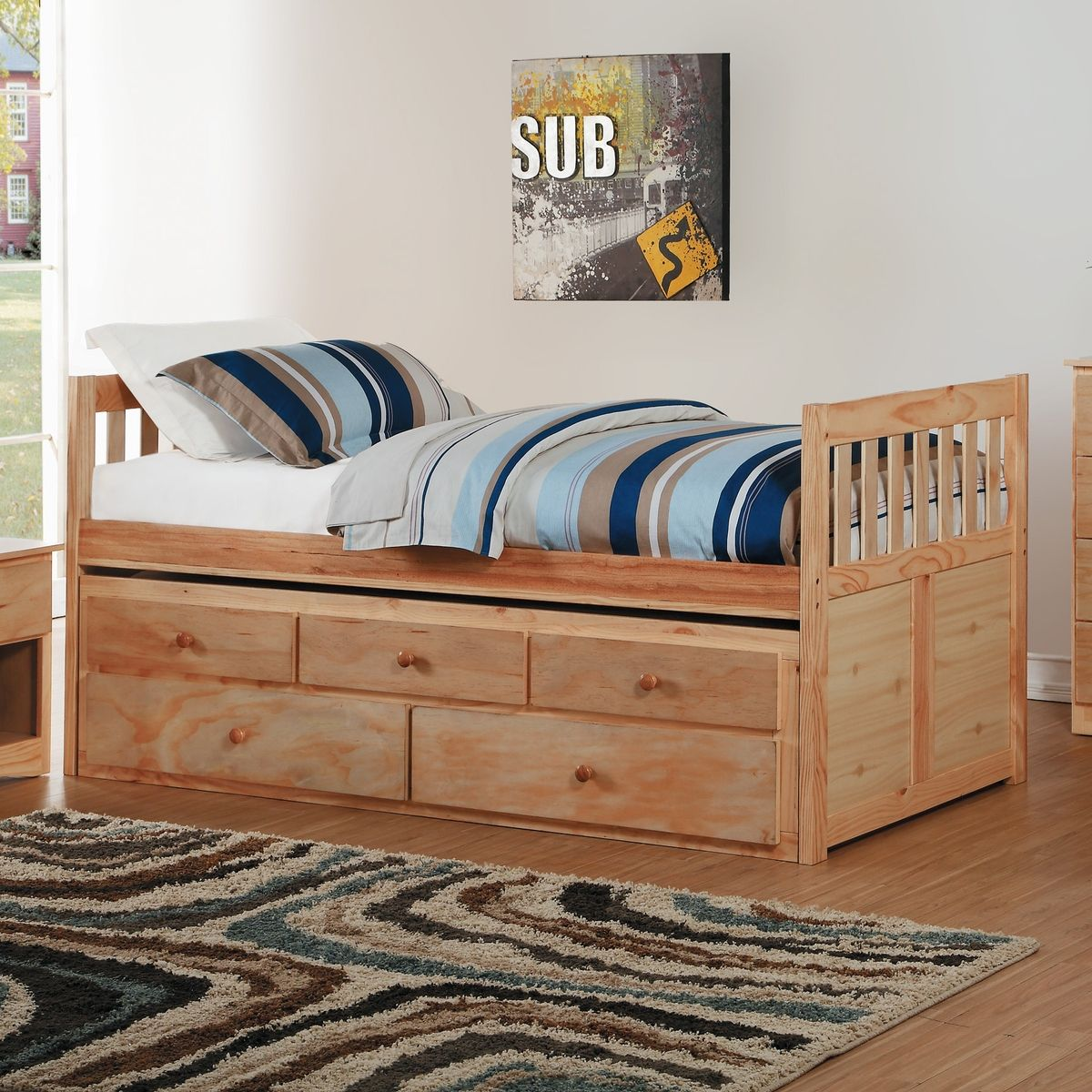 Bartly Wood Trundle Bed w/Storage Drawers, Twin/Twin Size