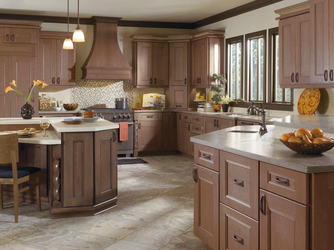 Dynasty Laroche Door Style On Cherry With Riverbed Onyx Finish Casual Style With Classic Sc Omega Cabinetry Beautiful Kitchen Cabinets Cherry Cabinets Kitchen