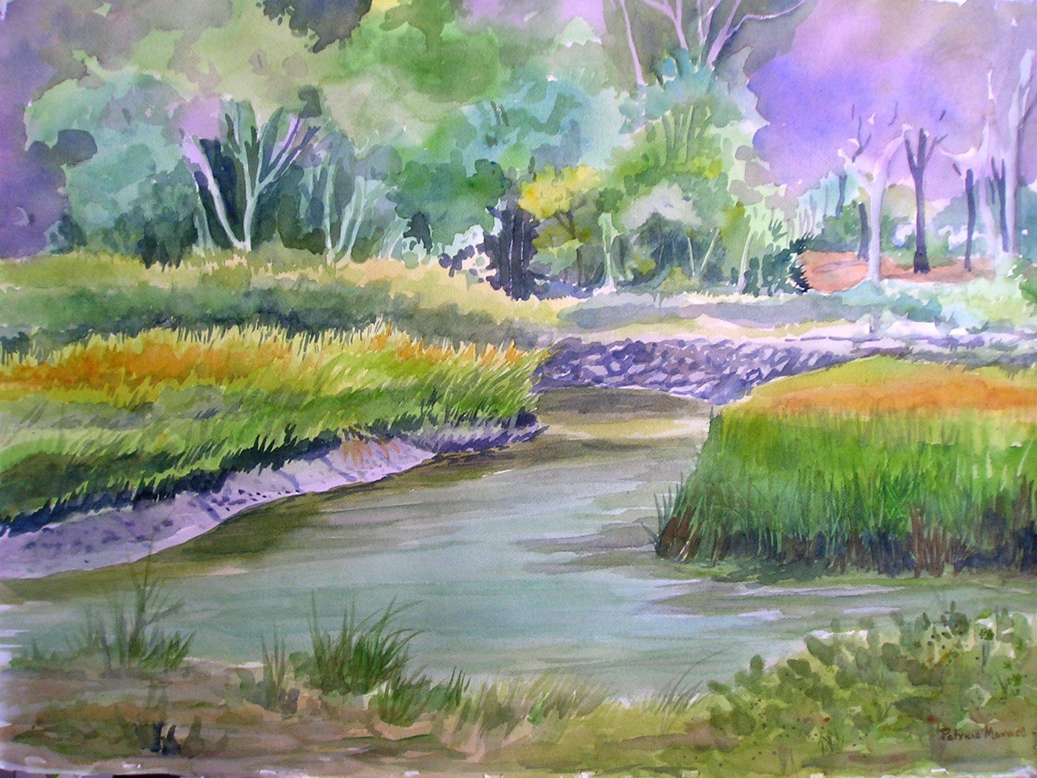 Original Watercolor 15x22  Marshes of Jekyll Island, Georgia