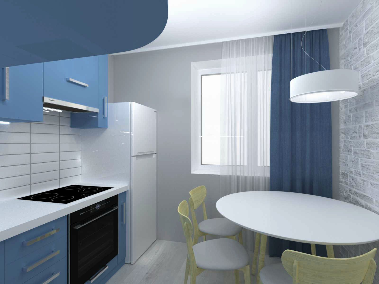 кухня в однокомнатной квартире дизайн 7