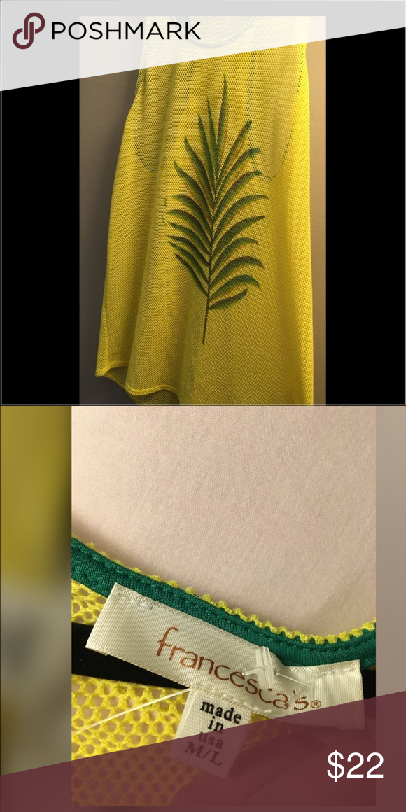 Francesca Coverup Yellow netting cover up, racerback with Leaf on front. Adorable for pool, beach, or board walk. See through. Francesca's Collections Swim Coverups