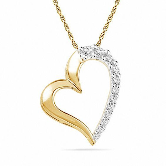 1 4 Ct T W Diamond Tilted Heart Pendant In 10k Gold Diamond Pendants Gold