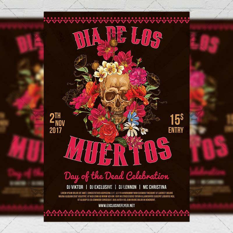 Dia De Los Muertos Seasonal A5 Flyer Template Httpswww
