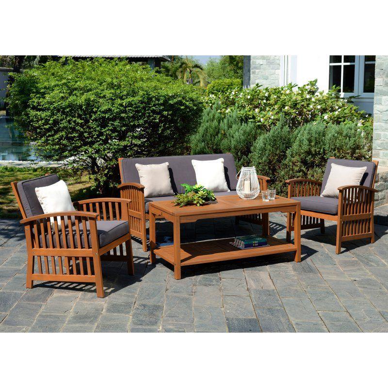 Outdoor Southern Enterprises Catania Wood Deep Seating 4 Piece