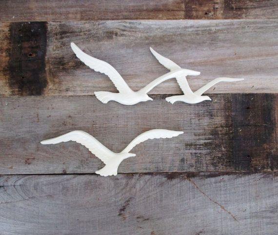 VTG 1970s MID Century Modern HOMCO Seagulls Birds Plastic Wood Wall Art Retro