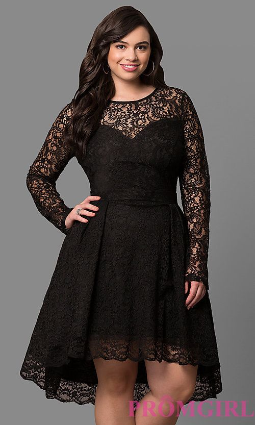 Long Sleeve Lace Plus Size High-Low Party Dress | Dresses ...