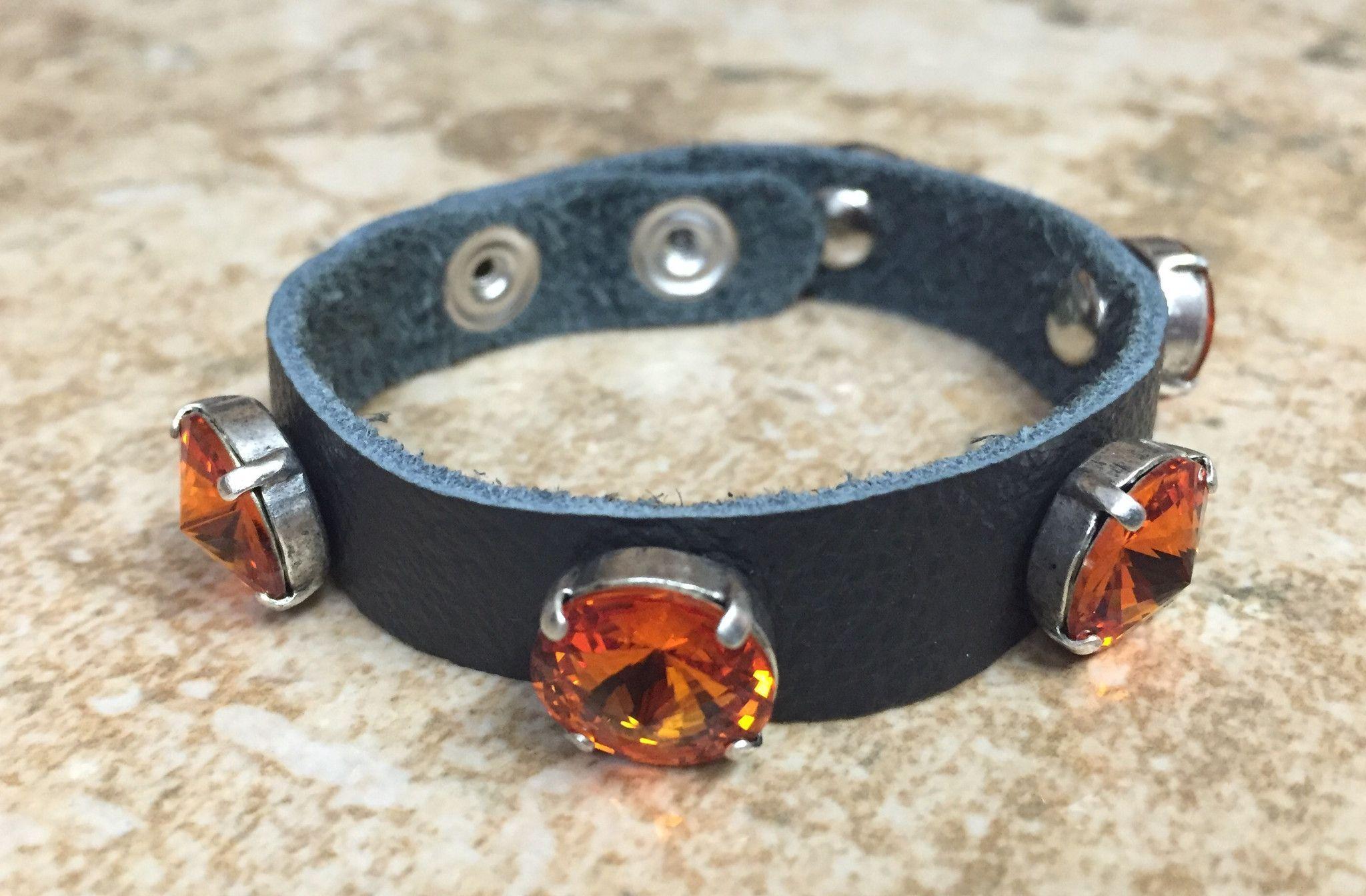 Leather Black and Orange