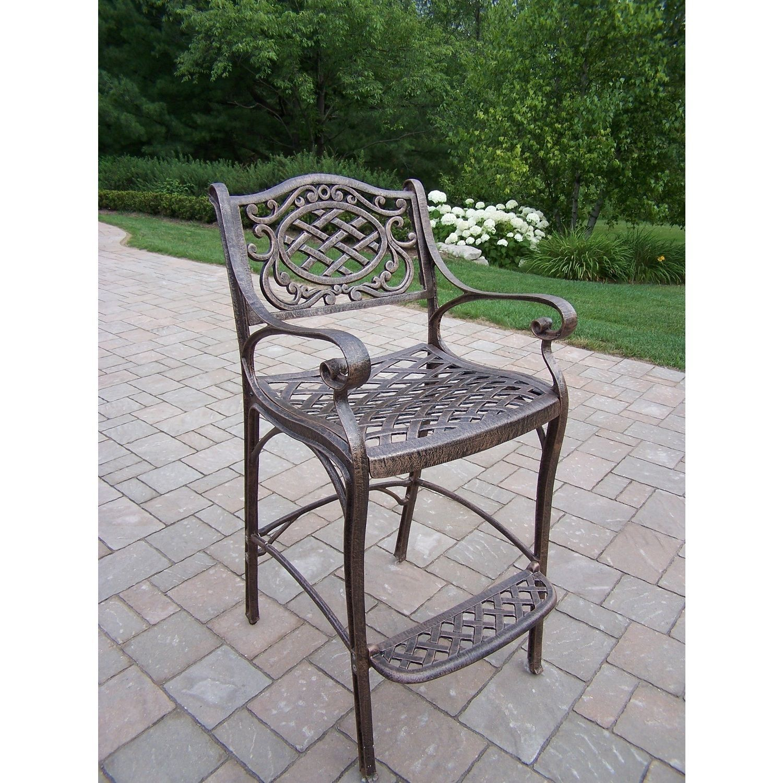 Marvelous Dakota Cast Aluminum Bar Stool With Foot Rest Antique Machost Co Dining Chair Design Ideas Machostcouk
