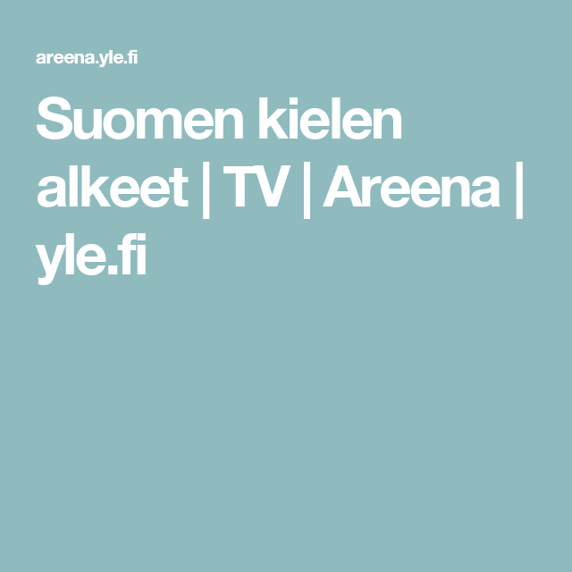 Suomen kielen alkeet | TV | Areena | yle.fi