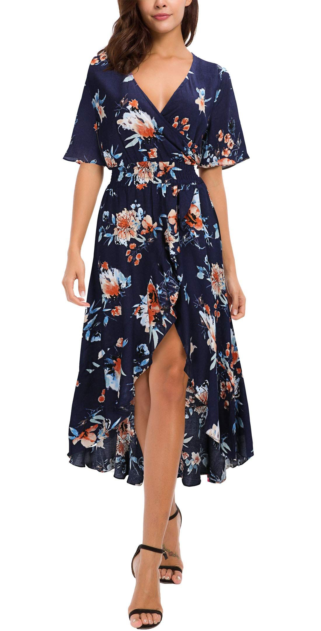 Kormei Womens Short Sleeve Floral High Low V Neck Flowy Party Long Maxi Dress Maxi Dress Wedding Long Maxi Dress Maxi Dress [ 2164 x 1100 Pixel ]