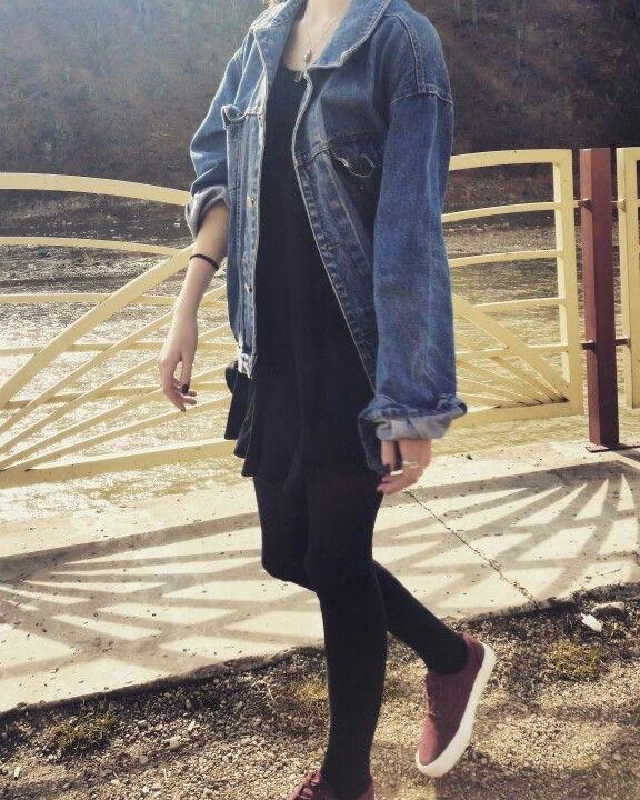 #denim #jacket #grunge #dress #ootd