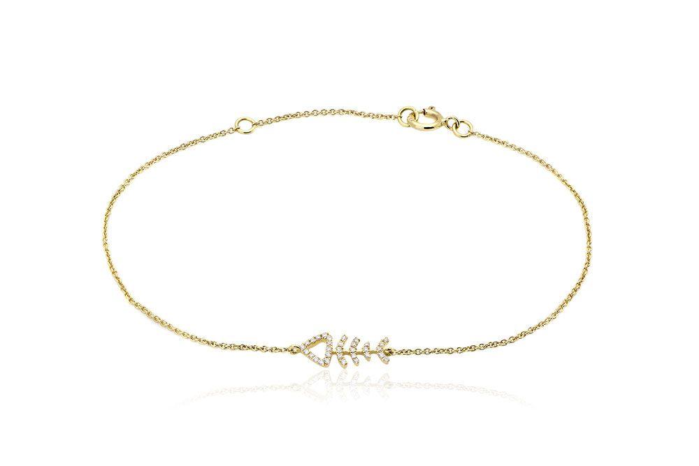 Fish Bone Bracelet Βραχιόλι Ψαροκόκαλο με διαμάντια μπριγιάν κοπής 0,08CT σε κίτρινο χρυσό 18Κ. Price:400,00 €