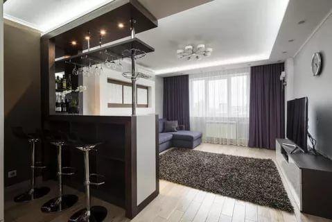 гостиная + кухня + барная стойка фото: 19 тыс изображений ...
