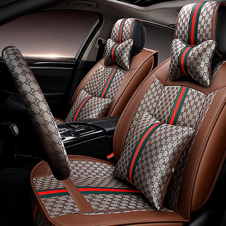 28258 Funky Leather GUCCI Print Car Seat Covers Universal Pads Automobile Cushions 11pcs