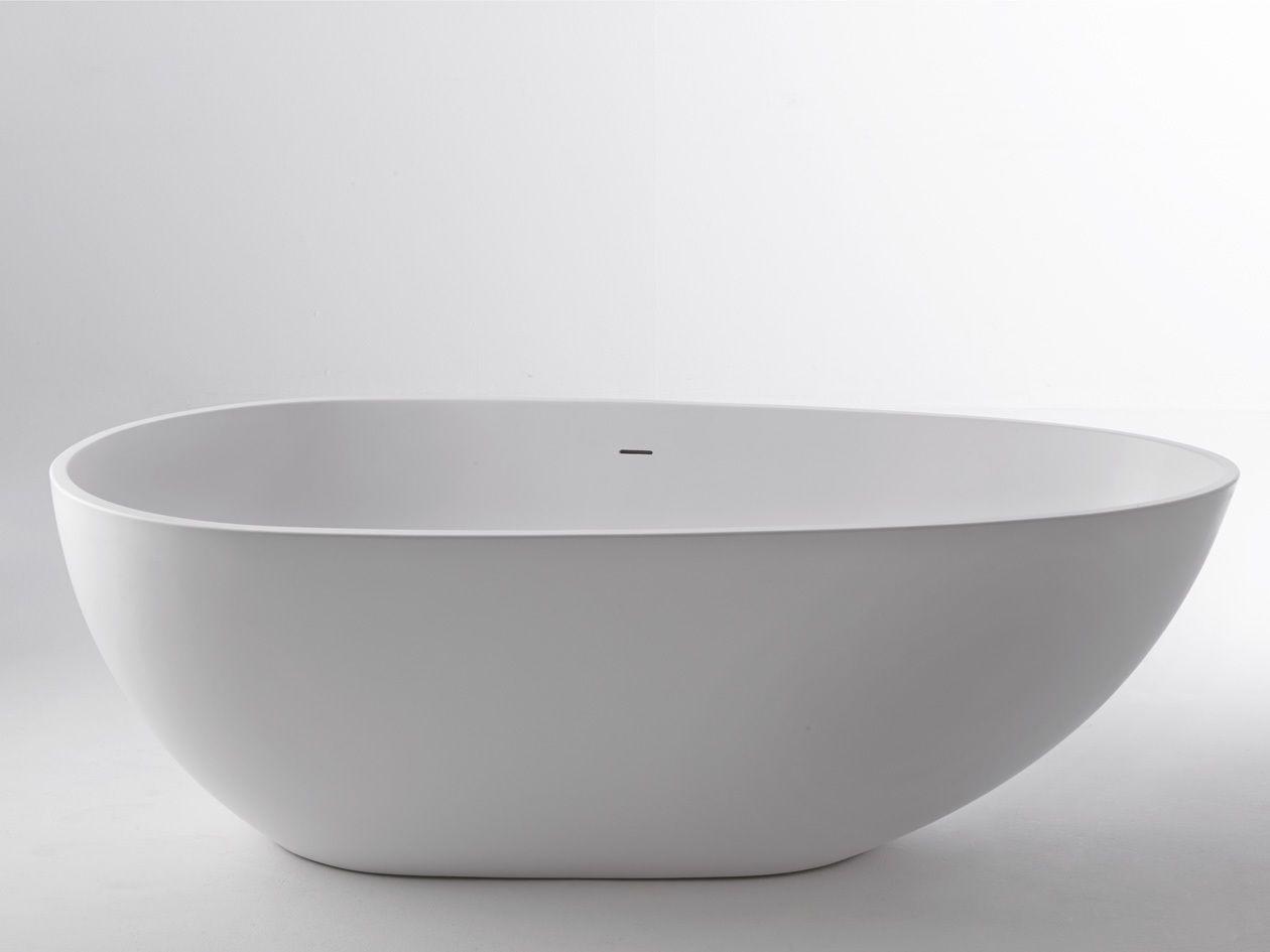freestanding bath tub 170 x 87 cm Composite Stone white mineral ...