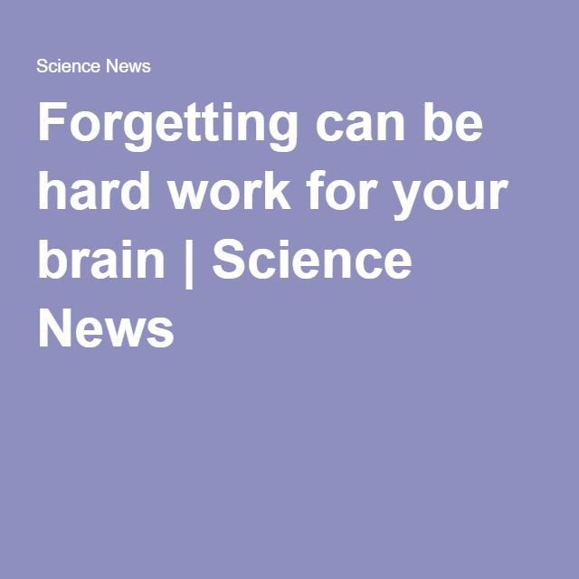 Forgetting can be hard work for your brain   Science News
