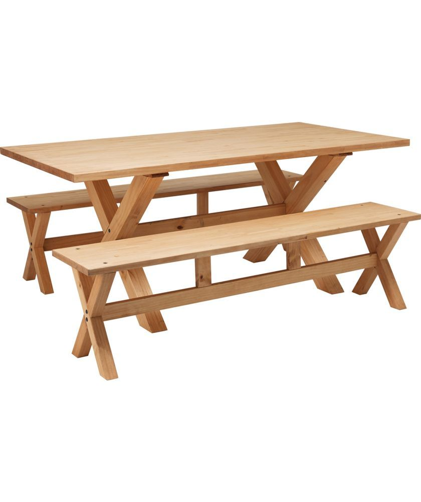 Buy Hudson Solid Wood Dining Table And 2 Benches