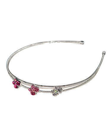 Take a look at this Silver & Pink Crystal Butterfly Headband by Rhona Sutton on #zulily today!