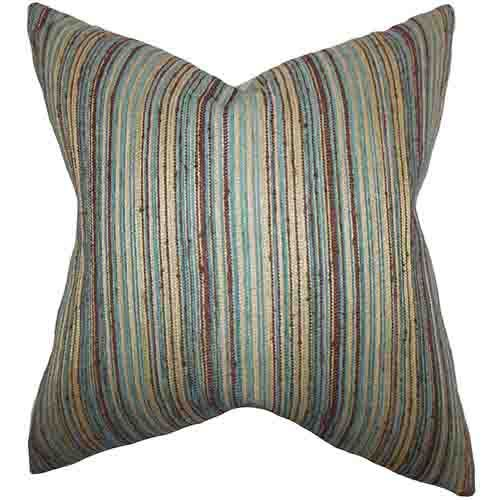 Bartram Blue And Brown 40 X 40 Stripes Throw Pillow The Pillow Beauteous Green Brown Decorative Pillows