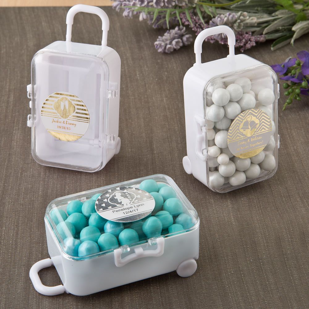 PERSONALIZED METALLICS TRAVEL THEMED MINI TRAVEL SUITCASE TROLLEY W/ RETRACTABLE HANDLE