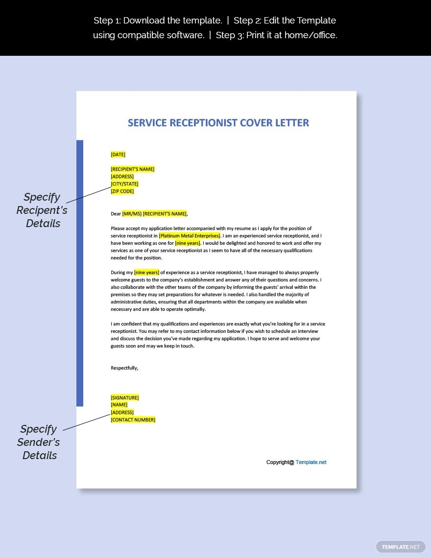 Simple Service Receptionist Cover Letter Template - Word ...