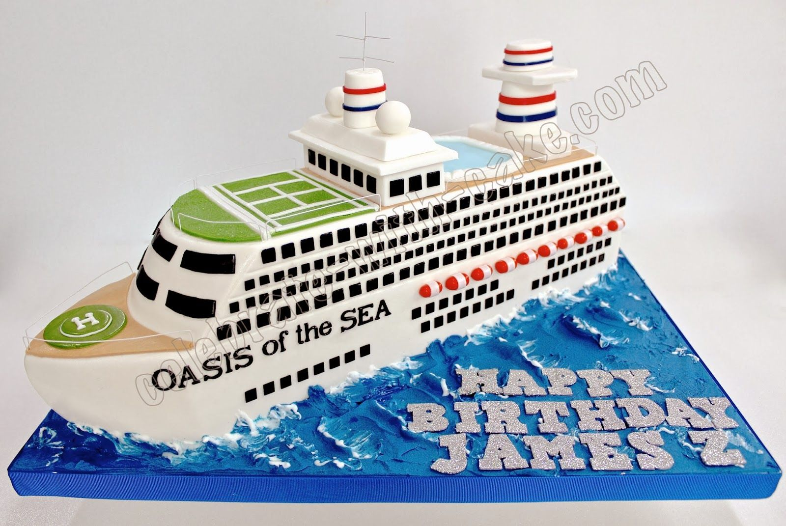 Surprising 3D Sculpted Cruise Ship Cake With Images Boat Cake Bon Voyage Funny Birthday Cards Online Inifofree Goldxyz