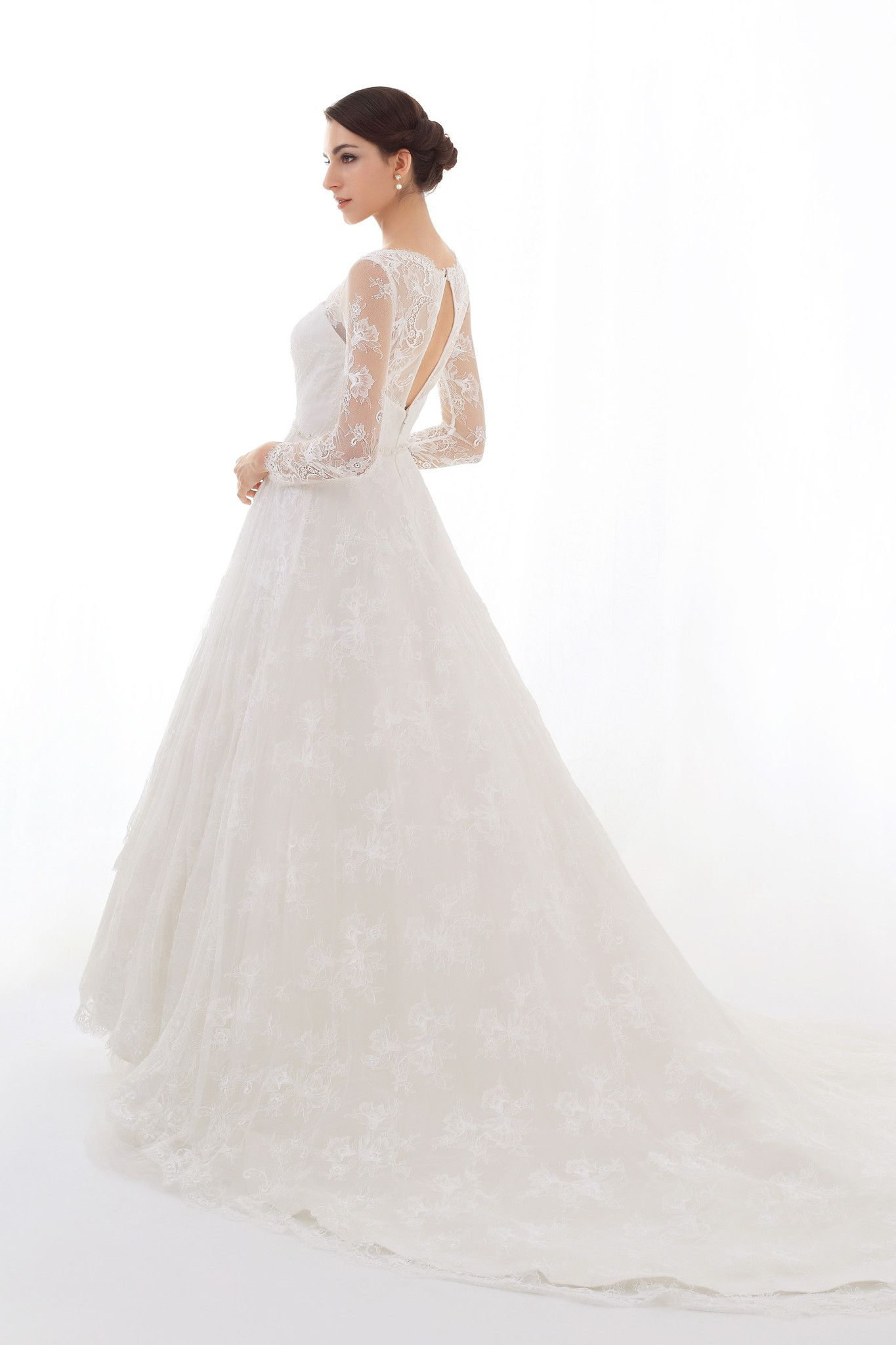 Bridal dress with long lace sleeves open back louisa bridal