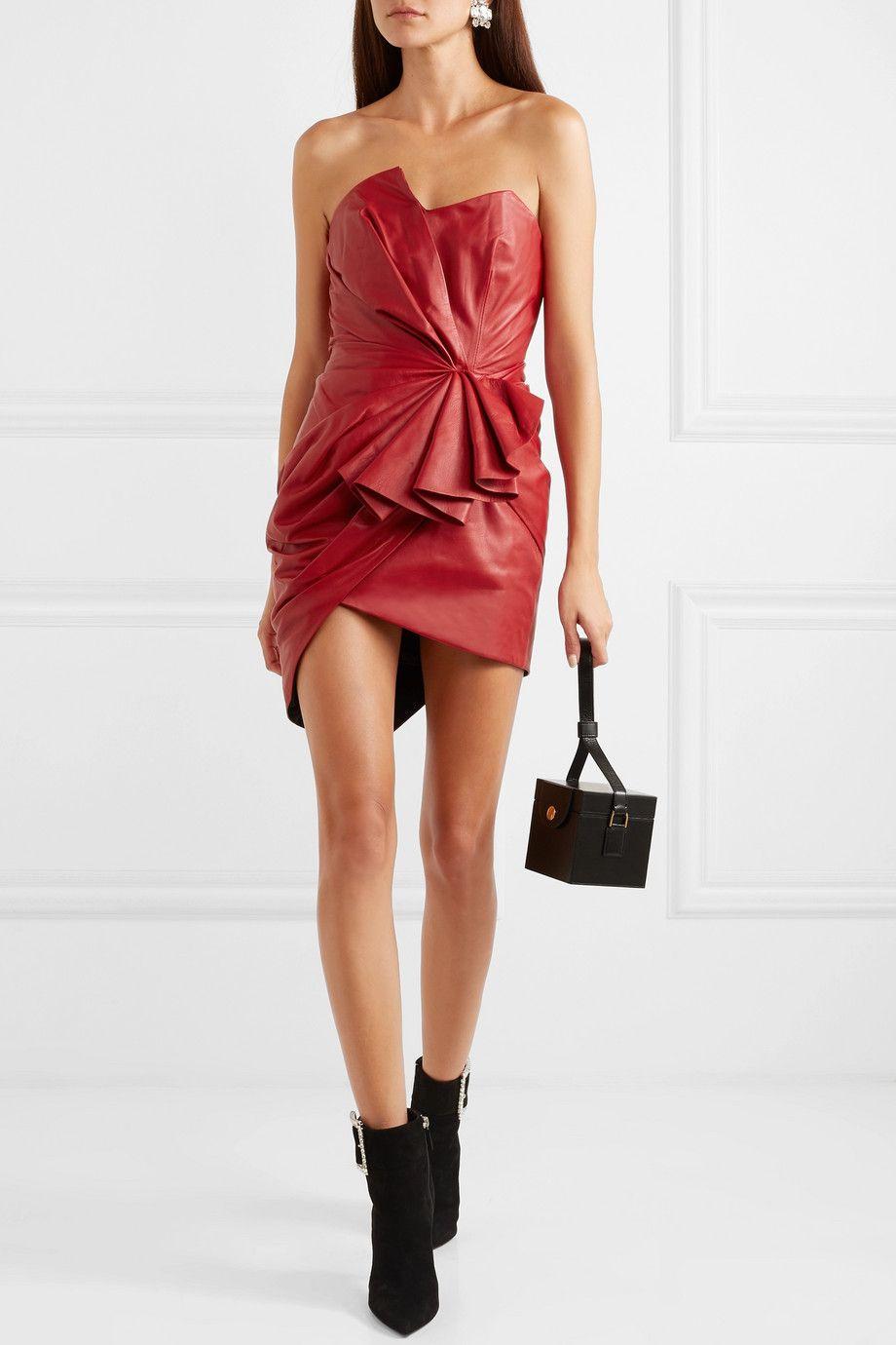 6f386b969b86 Alexandre Vauthier   Ruffled gathered leather mini dress   NET-A-PORTER.COM