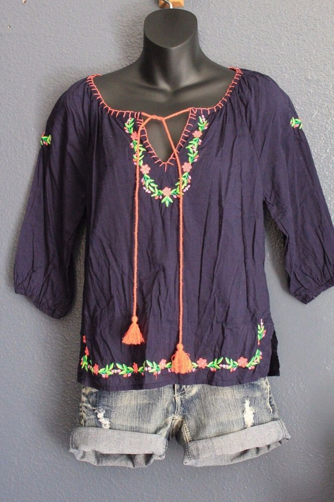 (S) Navy Blue Embroidered Boho Hippie Gypsy Shirt Top