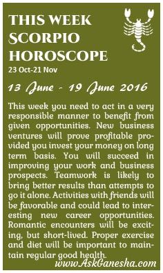 This Week Scorpio Horoscope (13th June 2016 - 19th June 2016