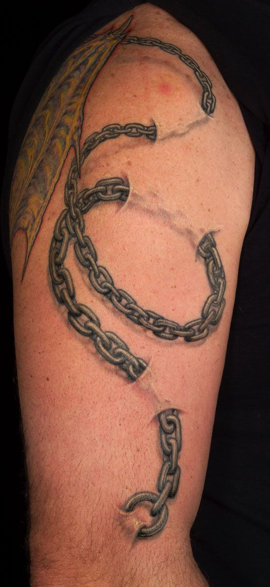 chains under skin looks real but is really a tattoo otherwise this rh pinterest co uk tattoos of chains broken tattoos of motorcycle chains