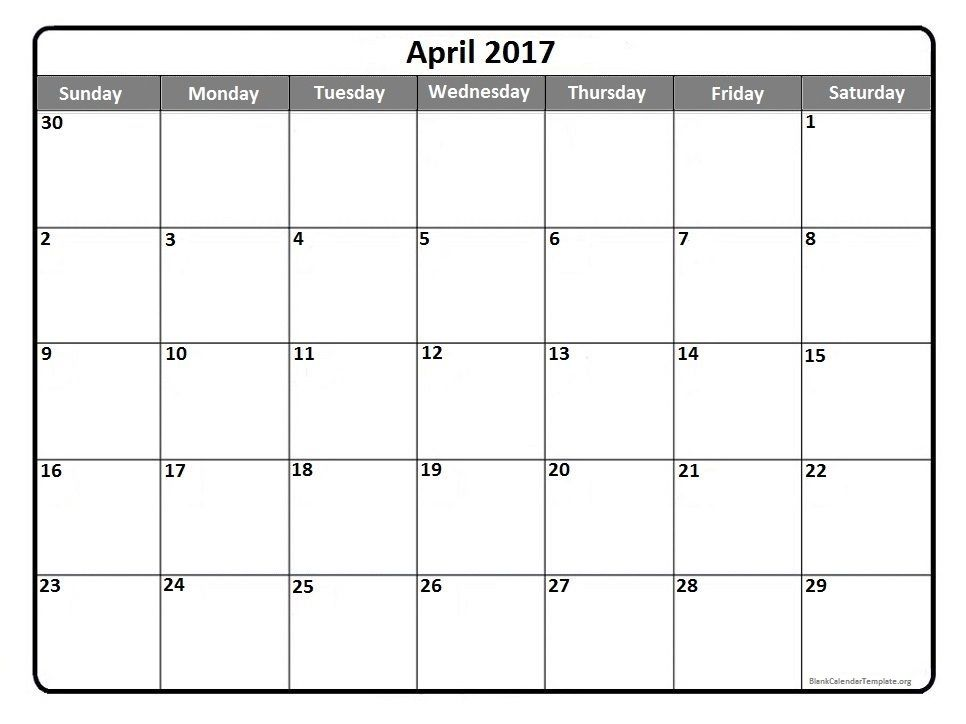 April  Printable Calendar Template  Printable Calendars
