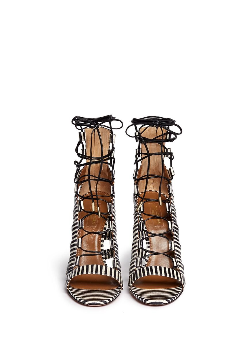 cdac9278791 AQUAZZURA  Amazon  stripe python leather caged sandals