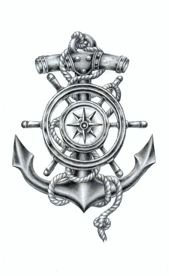 Nautical tattoo. Would love the wheel and compass without the anchor