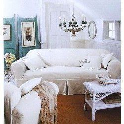 Beau Rachel Ashwell White Denim SOFA Slipcover Shabby Chic Couch Cover
