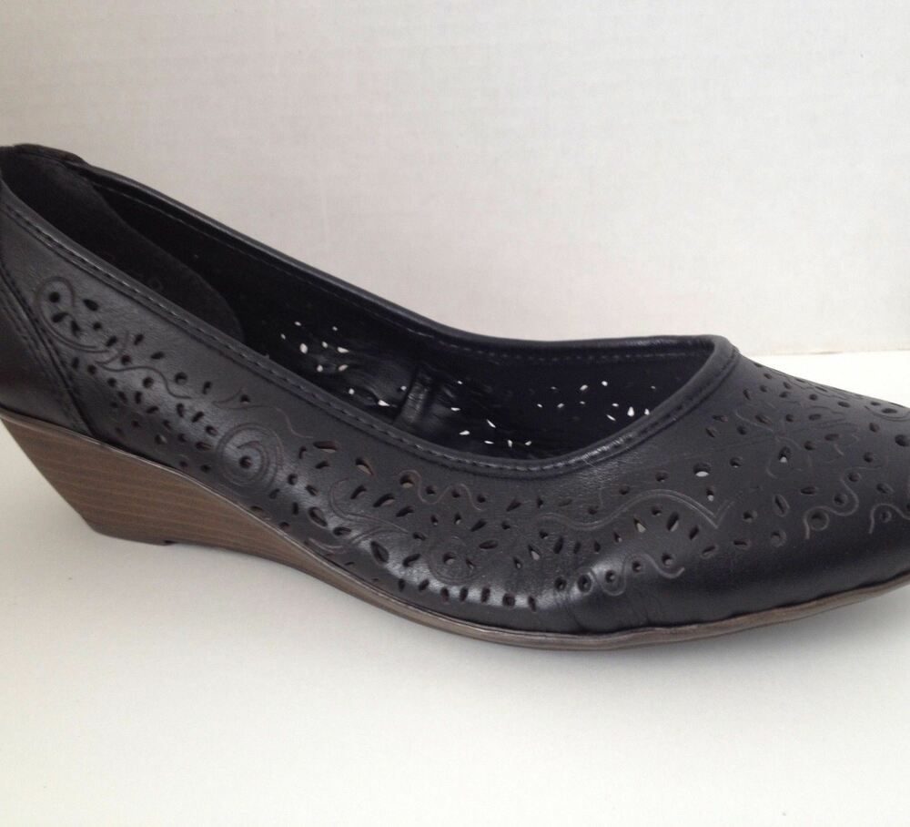 Details about Rieker Shoes Size 36 Black Wedge Heels US 6