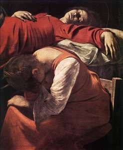"""Caravaggio """"The Death of the Virgin"""" 1605. double portraits with pillow, composition."""